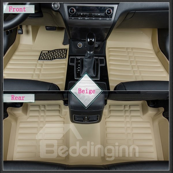 Beige Solid Charming Anti-Dust Popular PU Leather Dedicated Car Carpet