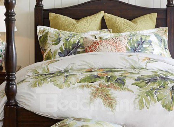 Rural Style Green Leaves Print 4-Piece Cotton Bedding Sets
