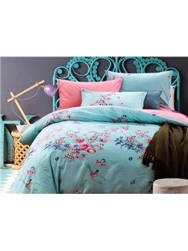 Light Blue Flower Print 4-Piece Cotton Duvet Cover Sets