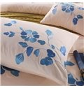 Romantic Blue Peony Print 4-Piece Cotton Duvet Cover Sets