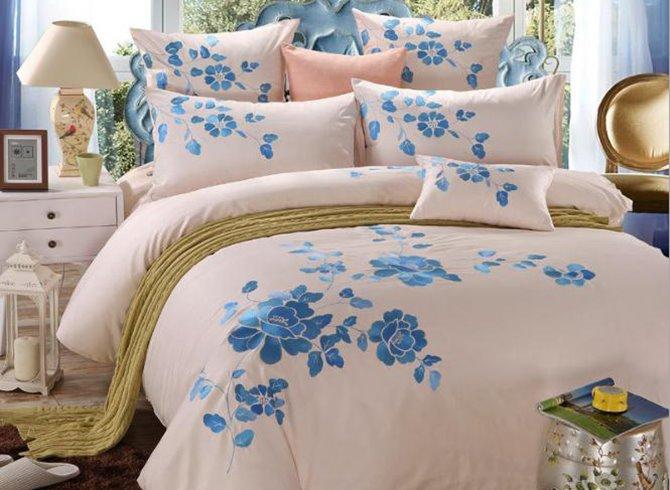Romantic Blue Peony Print 4-Piece Cotton Duvet Cover Sets