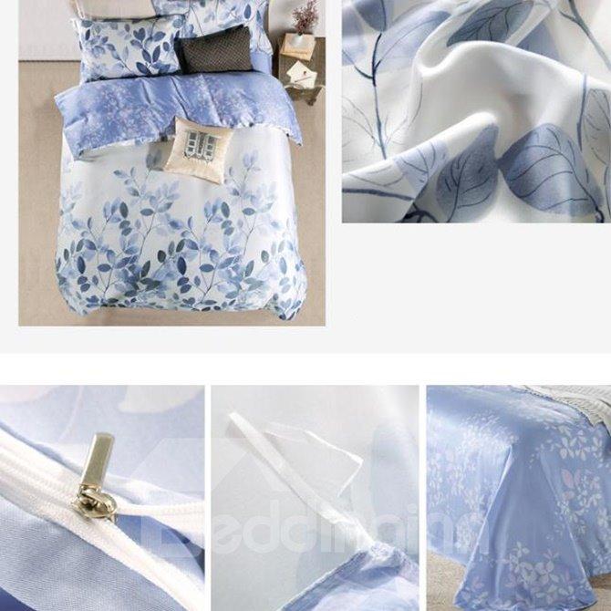 Popular Leaves Print 4-Piece Tencel Duvet Cover Sets