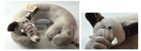 Ultra Soft Gray Elephant Plush Toy U Type Pillow
