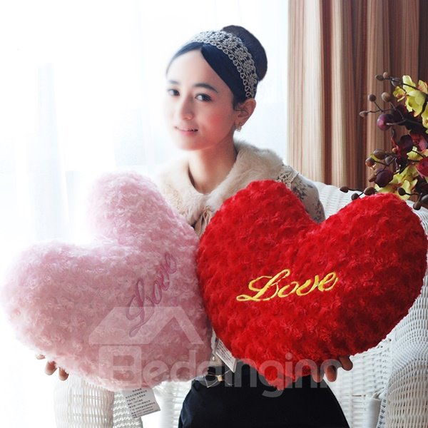 Romantic Heart Shape Love Letter Embroidery Throw Pillow