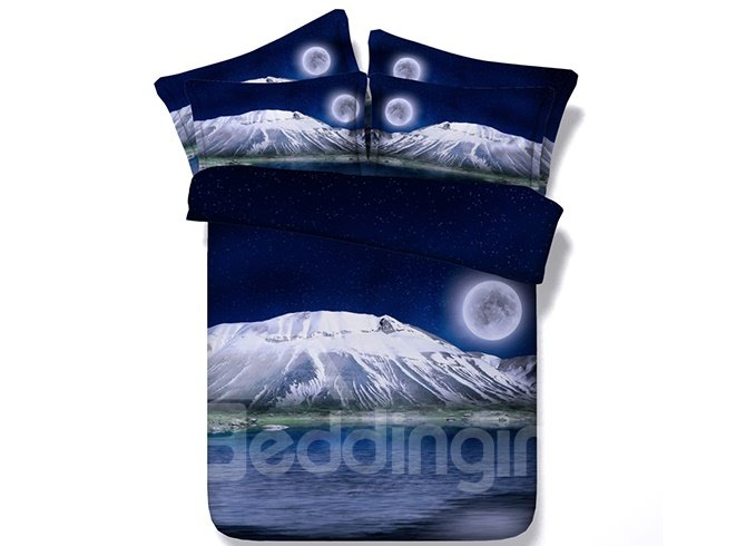 Moon & Snow Peak Digital Printing 4-Piece Duvet Cover Sets
