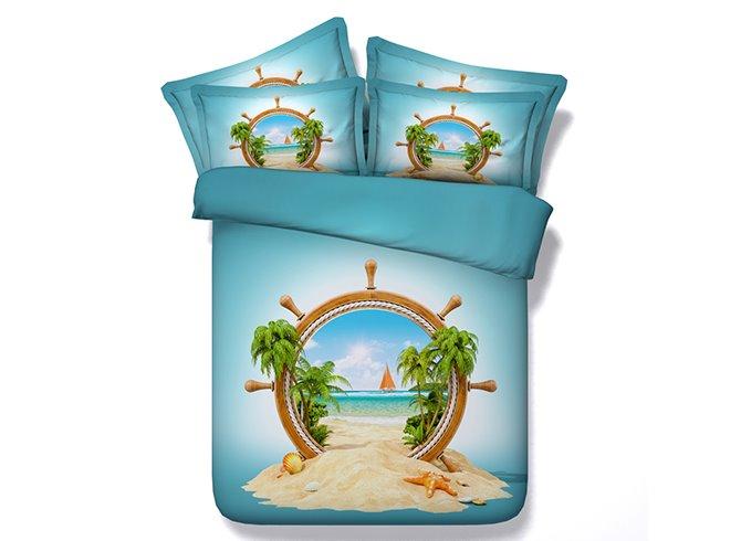 Charming Beach Scenery Digital Printing 4-Piece Duvet Cover Sets