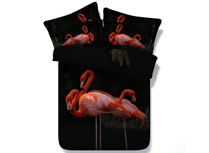 Vivid Flamingo Digital Printing 4-Piece Bedding Sets