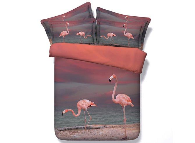 Pink Flamingo Printed Cotton 3D 4-Piece Bedding Sets/Duvet Covers