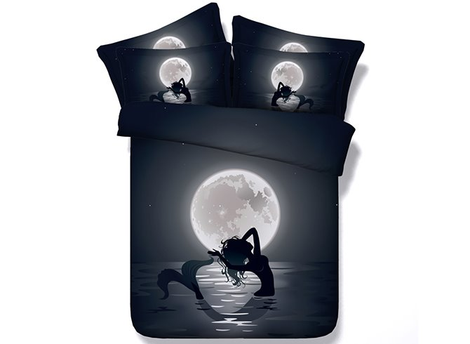 3D Mermaid in the Moonlight Printed Cotton 4-Piece Black Bedding Sets