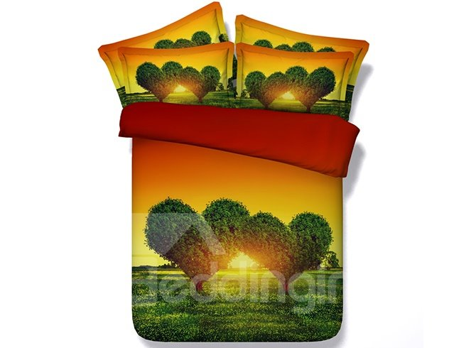 3D Green Heart-shaped Tree Printed Cotton 4-Piece Bedding Sets/Duvet Covers