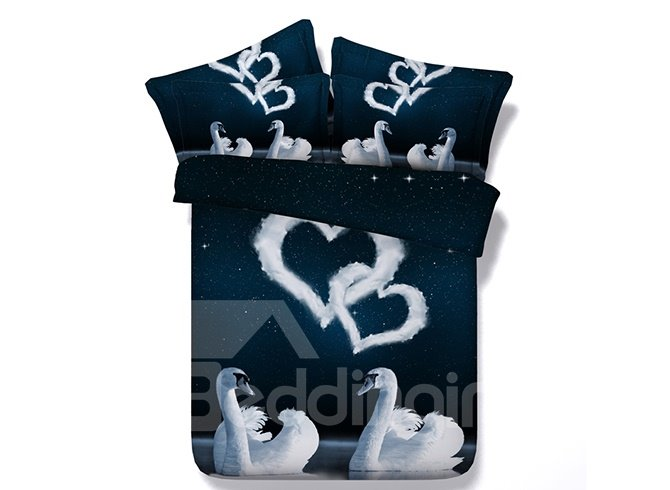 3D White Swans Couple and Heart-Shaped Clouds Printed Cotton 4-Piece Bedding Sets