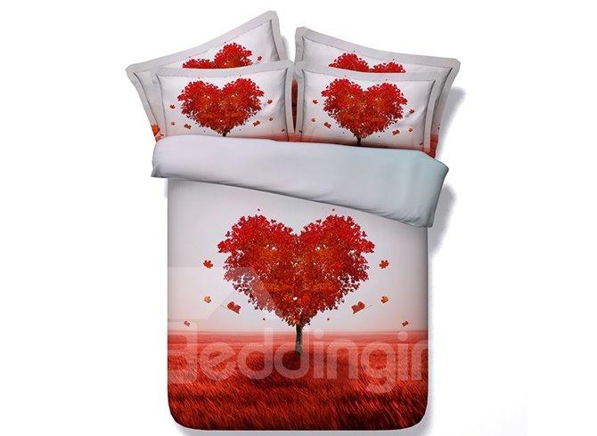 Beautiful Heart Shaped Tree Digital Printing 4-Piece Duvet Cover Sets
