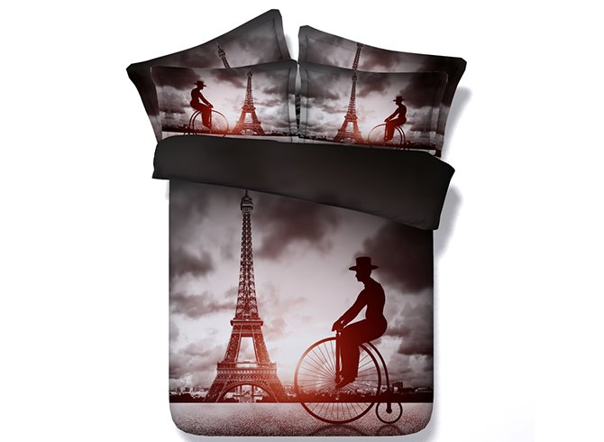 3D Big Wheel Bicycles and Paris Eiffel Tower Printed Cotton 4-Piece Bedding Sets
