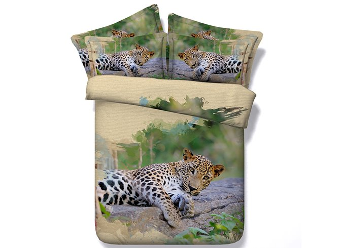 Vigorous 3D Leopard Digital Printing 4-Piece Duvet Cover Sets