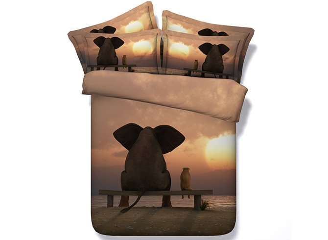 3D Elephant and Sunset Digital Printing Cotton 4-Piece Bedding Sets