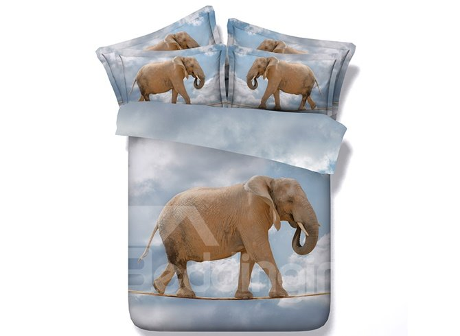Elephant on a Tightrope Printed Cotton 4-Piece 3D Bedding Sets/Duvet Covers