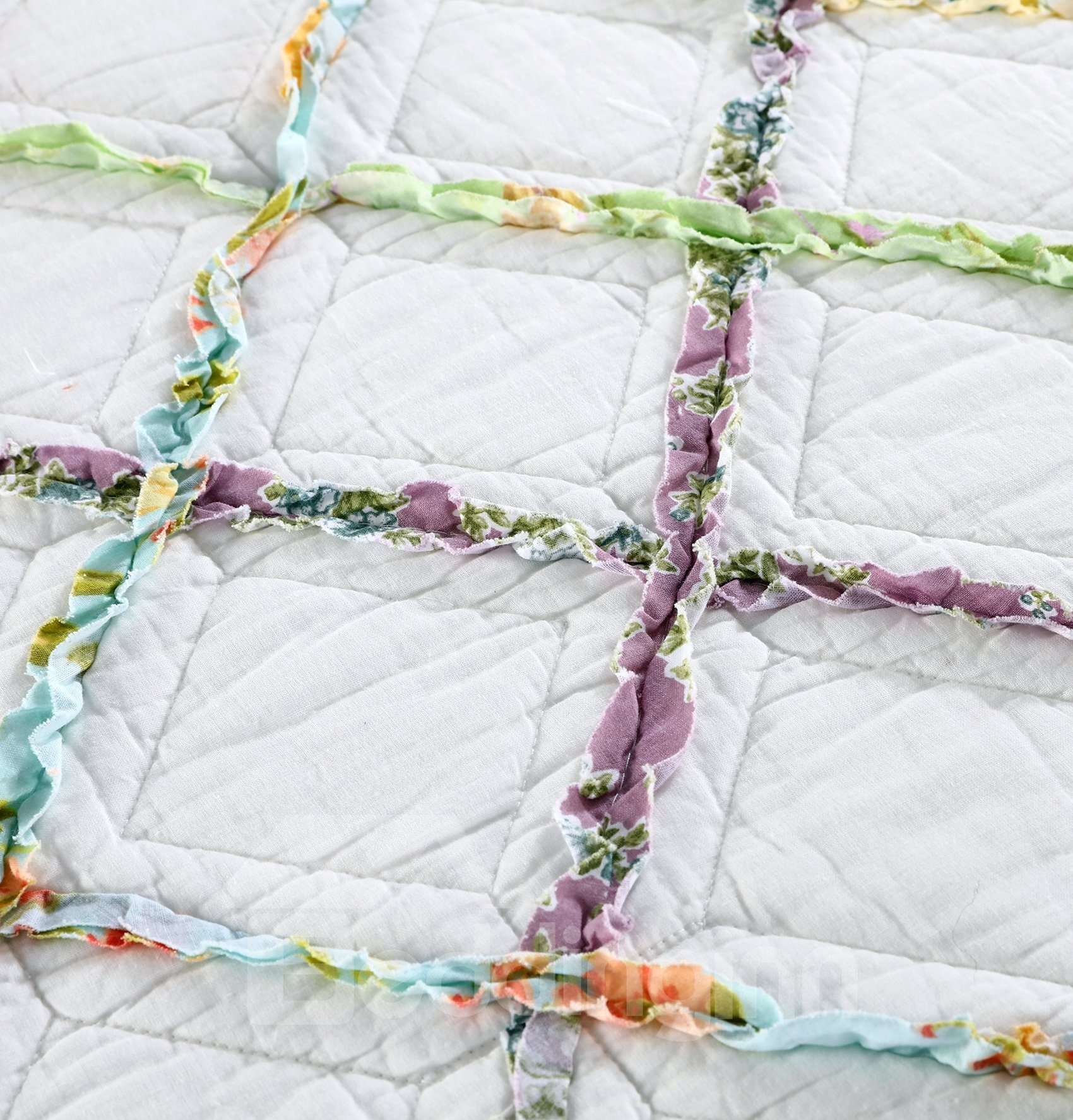 Ivory Green Ruffle Diamond Bed in a Bag