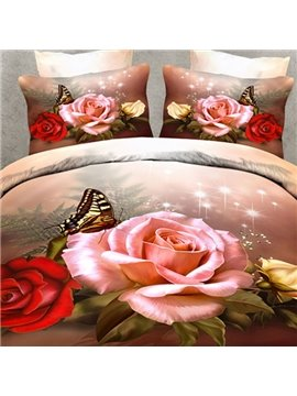 Beautiful Roses and Butterfly Print 2-Piece Pillow Cases