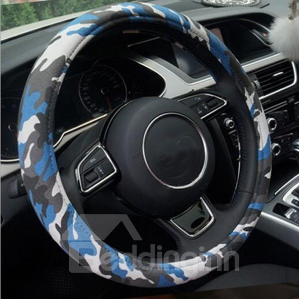 Navy Blue Camouflage Graffiti High-Quality Universal Steering Wheel Cover