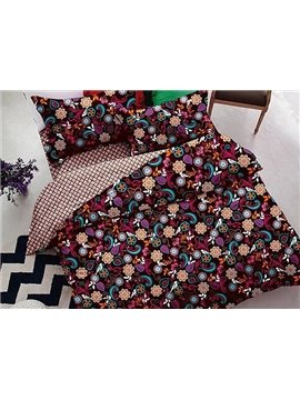 Fancy Elegant Floret 4-Piece Polyester Duvet Cover Sets
