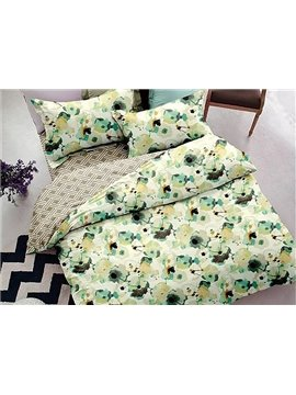 Fresh Style Floral 4-Piece Polyester Duvet Cover Sets
