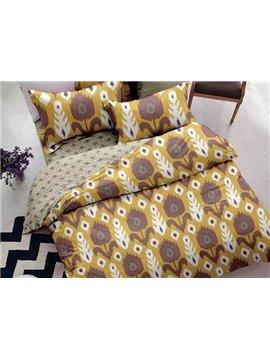 Splendid Floret Print 4-Piece Polyester Duvet Cover Sets