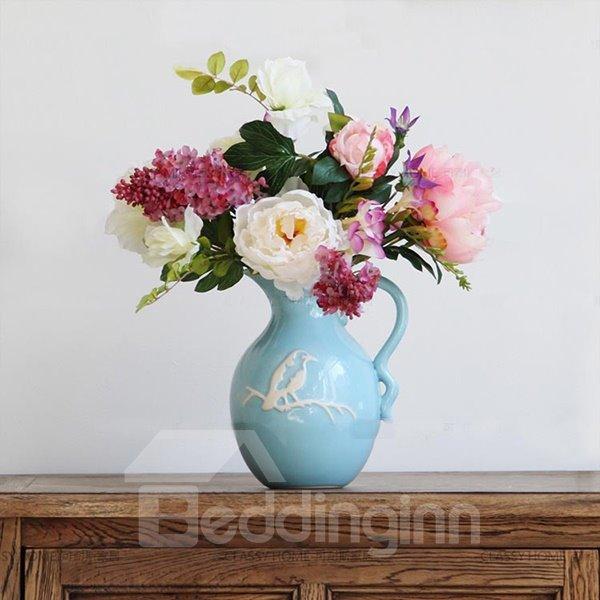 Bight Blue Mediterranean Style Flower Vase