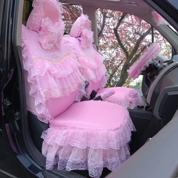 Girly Pink Non Woven Lace Cotton Universal Car Seat Cover Pic