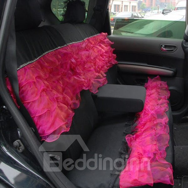 Classic Black And Red Mixed Lace Style Universal Car Seat Cover