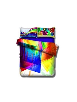 Rainbow Color Abstract Pattern 4-Piece Cotton Duvet Cover Sets