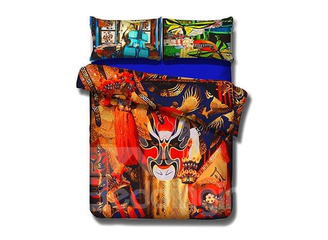 Splendid Theatrical Mask Print 4-Piece Cotton Duvet Cover Sets