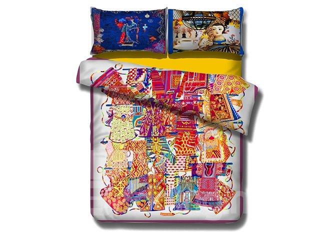 Unique Colorful Cheongsam Design 4-Piece Cotton Bedding Sets