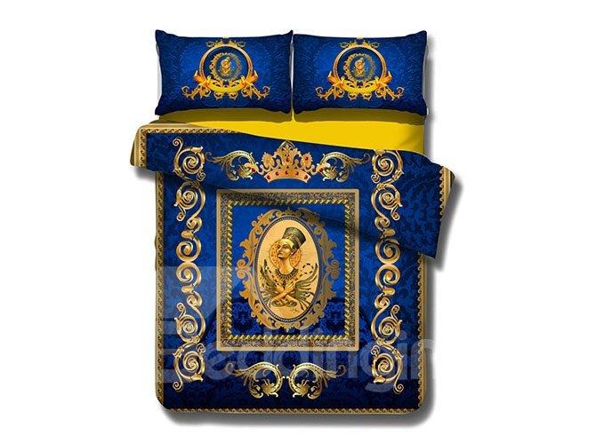 Noble Queen Print Blue 4-Piece Cotton Duvet Cover Sets  beddinginn