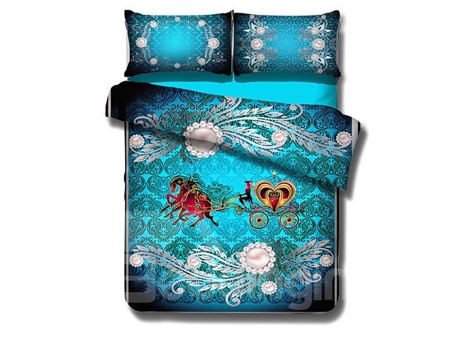 European Style Pearl and Carriage 4-Piece Cotton Duvet Cover Sets