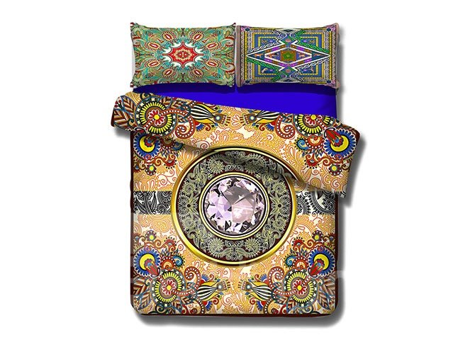Noble Diamond Design 4-Piece Cotton Duvet Cover Sets