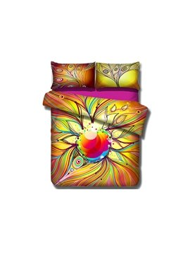 Colorful Peacock Feather Pattern 4-Piece Cotton Duvet Cover Sets