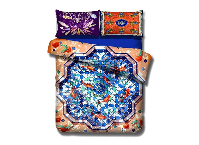 Chic Goldfish Pool Design 4-Piece Cotton Duvet Cover Sets