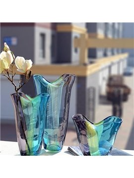 Bright Colorful Glass Decorative 3 Pieces Flower Vases