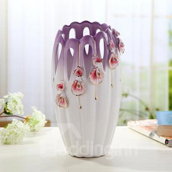 Delicate Purple Ceramic Flower Pattern Flower Vases
