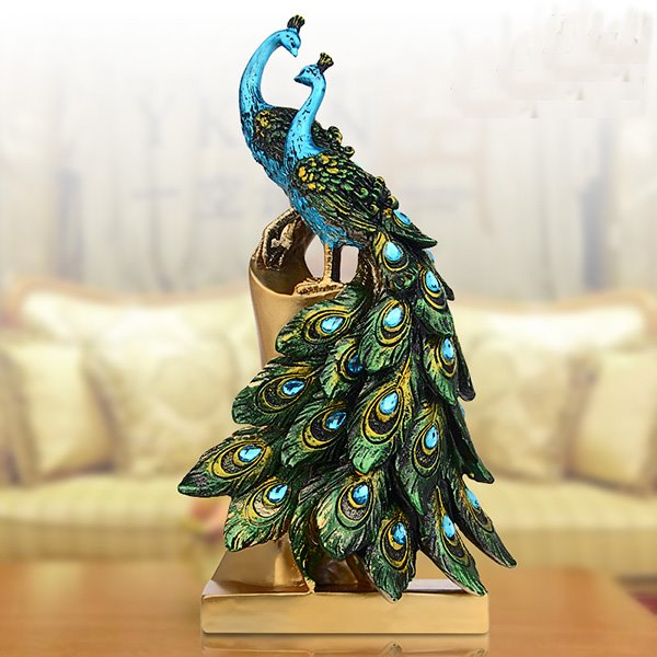 Two Beautiful Resin Ethnic Minority Style Peacock Desktop Decoration