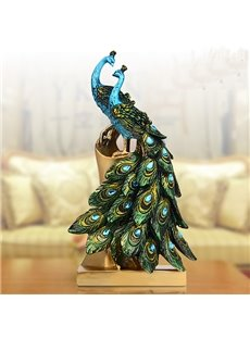 Two Beautiful Resin Ethnic Minority Style Peacock Desktop Decoration