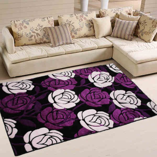 Purple Rectangle Polypropylene Fiber Flower Decorative Area Rug