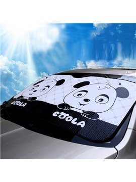 Cute And Funny Cartoon Panda Pattern Universal Car Sun Shades