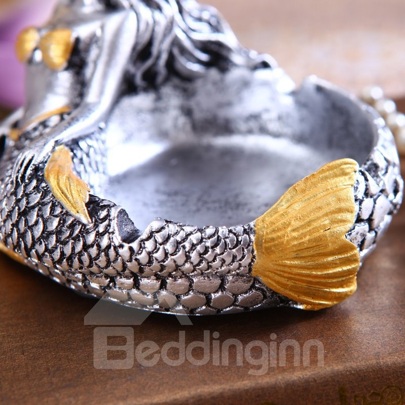 Fashionable Retro Bronze Resin Beauty Mermaid Ashtray