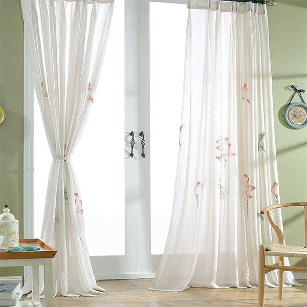 Chinese Style Lotus Pattern Custom Sheer Curtain