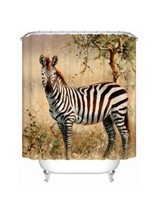 A Zebra Gazing Print 3D Bathroom Shower Curtain