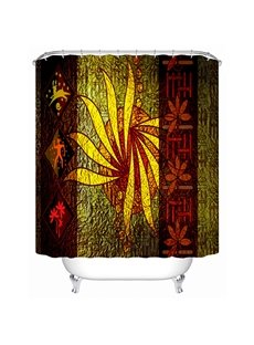 Vintage Style Abstract Flower Print 3D Bathroom Shower Curtain