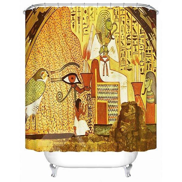 Egyptian Wall Painting Print 3D Bathroom Shower Curtain