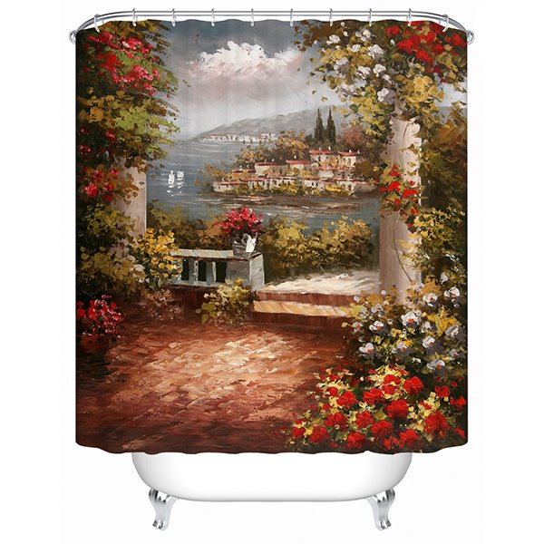 Beautiful Garden Oil Painting Print 3D Bathroom Shower Curtain
