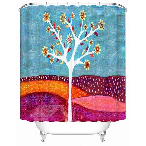 Cartoon Flower Tree Print 3D Bathroom Shower Curtain